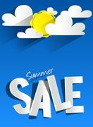 Hard Discount Summer Sale With Clouds And Sun Stock Illustration