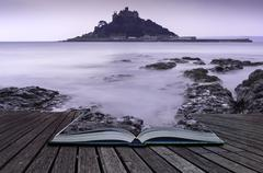 st michael's mount bay marazion landscape pre-dawn long exposure cornwall eng - stock photo