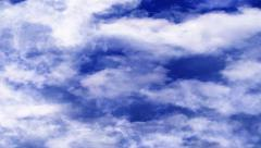 Very Blue Bright Clouds Moving In Horizontal Direction Stock Footage