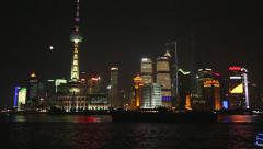 Shanghai Waterfront Skyline Architecture Lights - stock footage