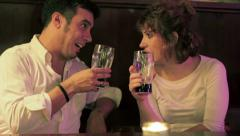 Friends having fun at pub. Smiling and happy friends with Glass of beer talking Stock Footage