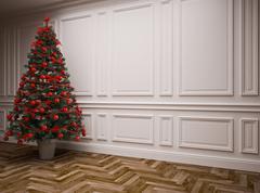 classic  Christmas interior - stock illustration