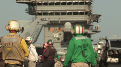 Deck operations on the USS Harry S. Truman Launches and Recovers Aircraft Stock Footage