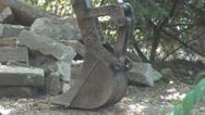 Stock Video Footage of Detail closeup excavator bucket stop working construction site concrete urban