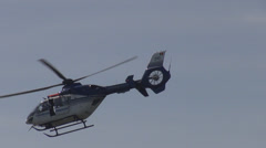 Helicopter demonstration sky blue private aid taxi detail close up trip holiday  Stock Footage