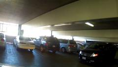 Driving In Parking Garage Near Miss Collision With Car Stock Footage