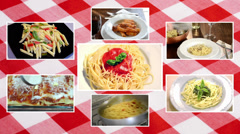 Italian pasta, composition with tablecloth Stock Footage