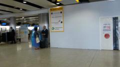 London Heathrow Airport Departure Hall, United Kingdom Stock Footage