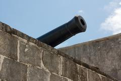 Cannon at Caribbean Fort - stock photo