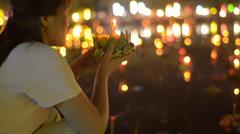 Thai Woman Praying During The Loi Krathong Festival Stock Footage