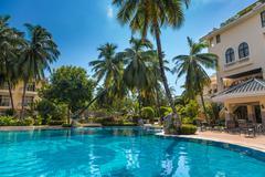 swimming  pool tropical spa resort - stock photo