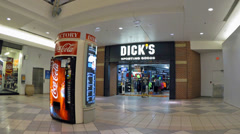 Dicks store mall entrance - zoom out Stock Footage