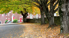 Stone wall autumn trees church building Stock Footage