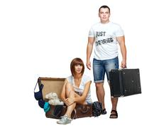 Stock Photo of newlyweds collect things on their honeymoon