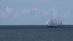 Three-masted sailing ship at Lake IJsselmeer, The Netherlands - stock footage