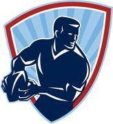 Rugby player passing ball shield retro Stock Illustration