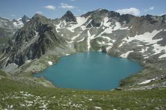 highest in europe, lake blue murudzhinskoe, caucasus - stock photo