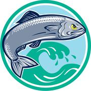 sardine fish jumping circle retro - stock illustration