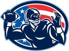 quarterback qb throwing ball retro - stock illustration