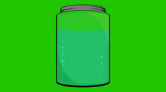 Cartoon Jar Filled with Liquid and bubbles on a Green Screen Stock Footage
