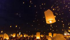 Time Lapse Many Fire Lanterns Floating In Loy Krathong Festival Of Thailand Stock Footage