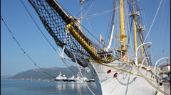 Old sailing ship Stock Footage