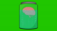 Cartoon Brain floating in a glass Jar  with bubbles on a Green Screen Stock Footage