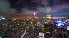 New York City manhattan skyline night timelapse buildings 4k - stock footage