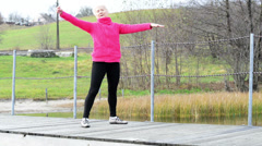 senior woman exercising - stock footage