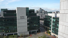 Dublin International Financial Services Centre Pan Stock Footage