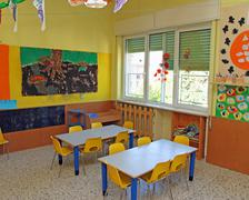Classroom where children learn to draw in a nursery Stock Photos