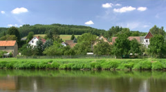 Beautiful German River Landscape - Mulde River, Saxony - stock footage