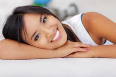 Stock Photo of closeup portrait of a happy young asian woman