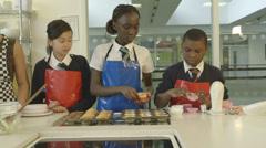 School children in catering - stock footage