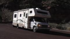 RV Navigates Hairpin Curve- Zion National Park Utah Stock Footage