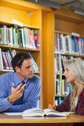 Lecturer explaining something to attentive blonde student - stock photo