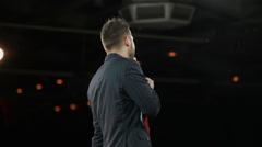 Emcee works on stage Stock Footage