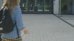 School children entering in school Stock Footage