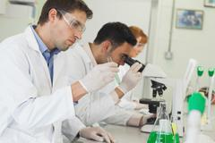 Row of young scientists working in laboratory Stock Photos