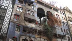 Colorful Hundertwasserhaus in Vienna Stock Footage