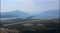 Wide shot Tivat bay, airport runway Stock Footage