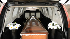 The coffin in a hearse Stock Footage
