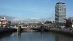 Dublin - River Liffey - Train Crossing Bridge Stock Footage
