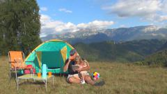 Man, Child Use Tablet in Mountains Trip, Family Playing Ipad, Camping, Tent Stock Footage