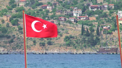 Turkish Flag And Pirate Sail Ships Behind Stock Footage