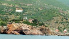 Sea Shore And Hills As Seen From The Sailing Vessel Stock Footage
