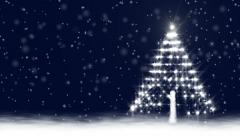 Christmas Snow Scene with Glowing Baubles on a Christmas Tree Stock Footage