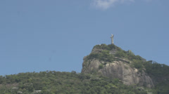 048 Rio, Christ the Redeemer on blue sky Stock Footage