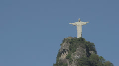 058 Rio, Christ the Redeemer on blue sky Stock Footage