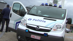 Belgian police car with flashing lights Stock Footage